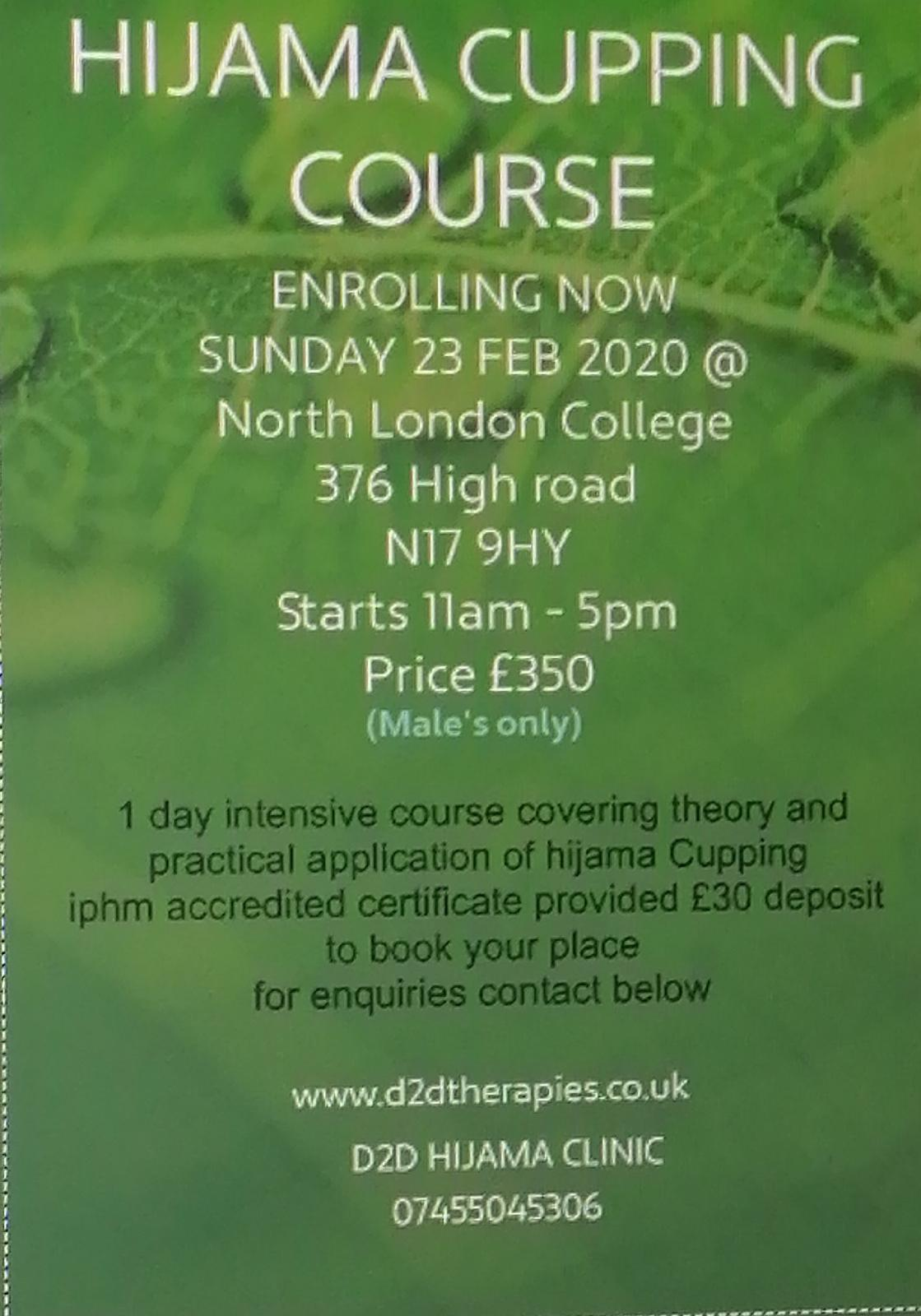 D2D THERAPIES | Hijama wet cupping certification course UK